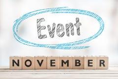 11月与木块的事件标志 图库摄影
