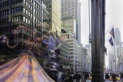 12月中旬曼哈顿街道场面 免版税图库摄影