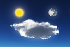 月亮、太阳和云彩 库存图片