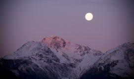 月亮上升微明 免版税库存照片