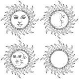 月亮和太阳与人面 也corel凹道例证向量 库存照片