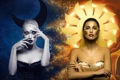 月亮和太阳女孩 免版税库存照片
