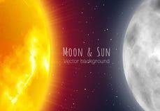 月亮和太阳,夜空横幅,现实样式 免版税库存照片