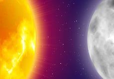 月亮和太阳,夜空背景,现实样式 免版税库存照片