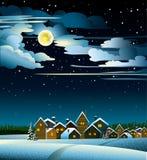 月亮和房子冬天 库存图片