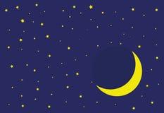 月亮和星和天空 免版税库存照片