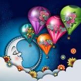 月亮和热空气气球 皇族释放例证