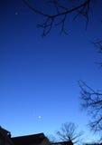 月亮和行星,看见在冬天,从新泽西 库存图片