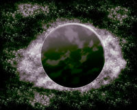 月亮和行星-幻想空间 库存照片