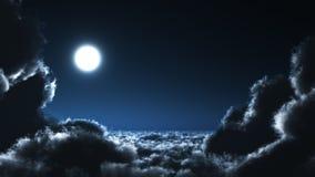 月亮和cloudscape在晚上 库存图片