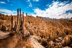 月亮在拉巴斯附近的谷风景在玻利维亚 图库摄影
