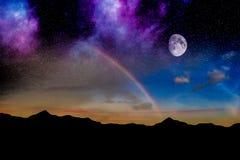 月亮夜彩虹 免版税图库摄影