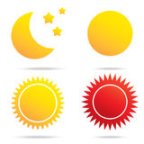 月亮太阳和星标志 免版税库存图片