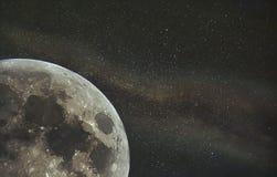 月亮广告银河墙纸 库存图片