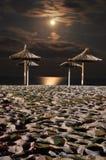 月亮晚上海运 免版税图库摄影