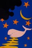 月亮晚上鲸鱼 免版税库存图片