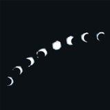 月亮步行和月亮阶段 库存图片