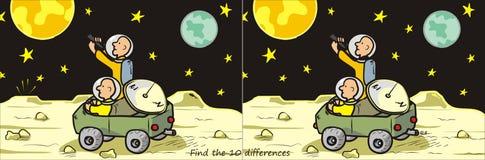 月亮流浪者查找10区别 库存图片