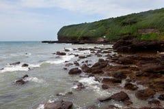 月亮湾,鳄鱼小山,涠洲岛,中国 免版税库存照片