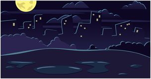 月亮照亮夜城市 皇族释放例证