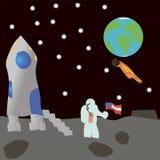 月亮的一位宇航员 免版税库存图片