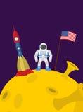月亮的宇航员 有美国和岩石旗子的宇宙人  库存照片