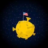 月亮的美国 美国在黄色行星下垂 暗区和星 库存图片