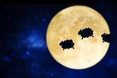 月亮的背景与绵羊的阴影的 免版税库存图片