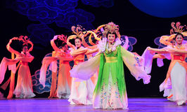月亮神仙舞蹈江西OperaBlue外套 免版税库存照片
