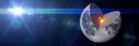 月亮结构3d例证横幅 库存图片