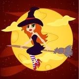月亮背景的巫婆 库存照片