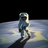 月亮表面上的宇航员 平的几何例证 库存例证