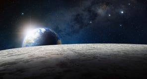 月亮表面和行星地球在日出 库存例证