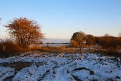 月亮风景在11月 库存图片
