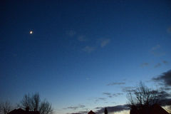 月亮,火星,金星 2016年12月 免版税库存照片