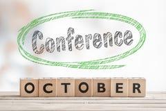 10月会议标志由木头制成 免版税库存图片