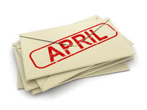 4月信件(包括的裁减路线) 免版税库存图片