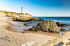 4月加拿大盖帽gaspesie灯塔找出马德琳・最高的魁北克 免版税库存照片