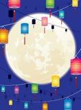 满月和垂悬的中国灯笼背景d 免版税图库摄影