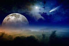 满月和彗星 库存照片