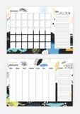 月和每周计划者模板与开始星期,笔记的,五颜六色的摘要方形的细胞的在星期天的汇集 库存例证