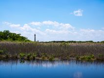 3月和池塘风景,开普梅灯塔,新泽西 免版税库存图片