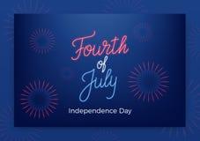 7月四日 美国美国独立日问候横幅 与霓虹字法和烟花的现代布局 库存照片