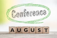 8月在场面的会议标志 免版税库存照片
