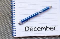 12月在笔记本的文本概念 免版税库存图片