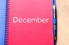 12月在笔记本的文本概念 免版税图库摄影