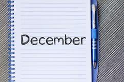 12月在笔记本的文本概念 免版税库存照片
