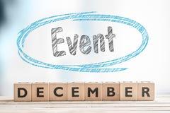 12月在阶段的事件标志 库存照片