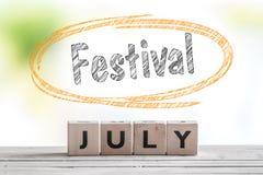 7月在阶段的节日消息 免版税库存照片