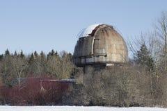 2月天的普尔科沃观测所的望远镜的圆顶 圣彼德堡 免版税库存图片